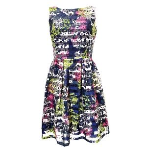Just... Taylor Stipped Floral Gathered Waist Dress